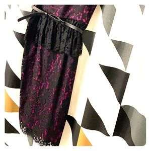New Robert Rodriguez lace dress in black and pink